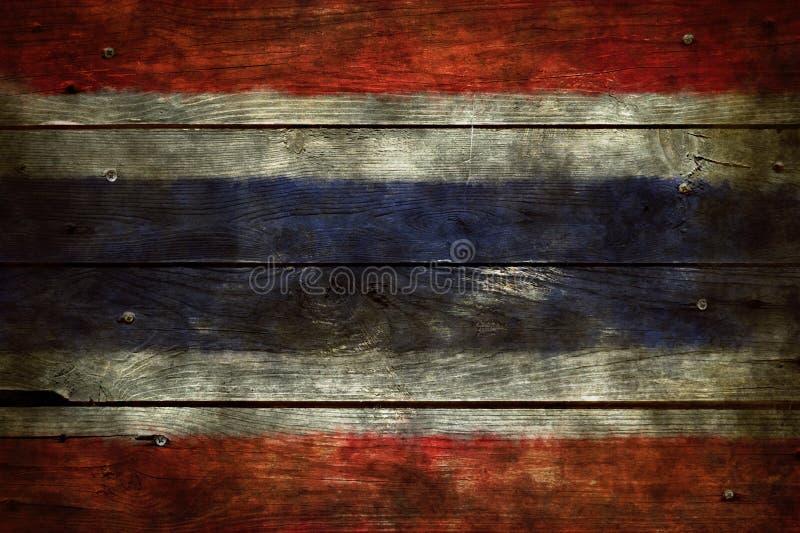 Vlag van Thailand op hout stock afbeelding