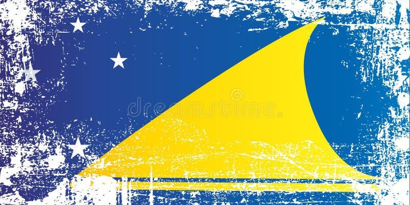 Vlag van Tokelau, Afhankelijk grondgebied van Nieuw Zeeland Gerimpelde vuile vlekken royalty-vrije illustratie