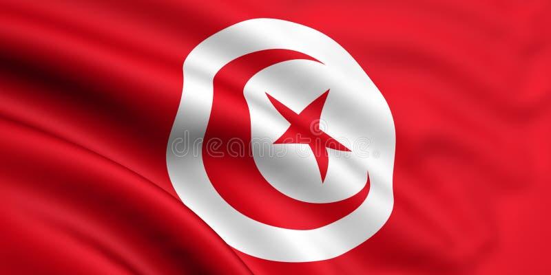 Vlag van Tunesië royalty-vrije illustratie