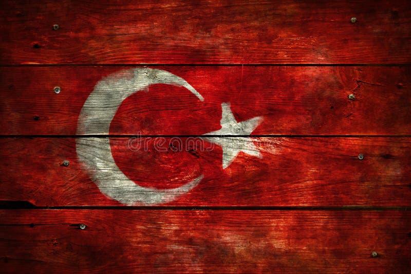 Vlag van Turkije op hout royalty-vrije stock afbeeldingen