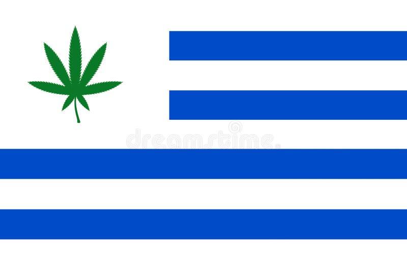 Vlag van Uruguay met cannabisblad stock illustratie