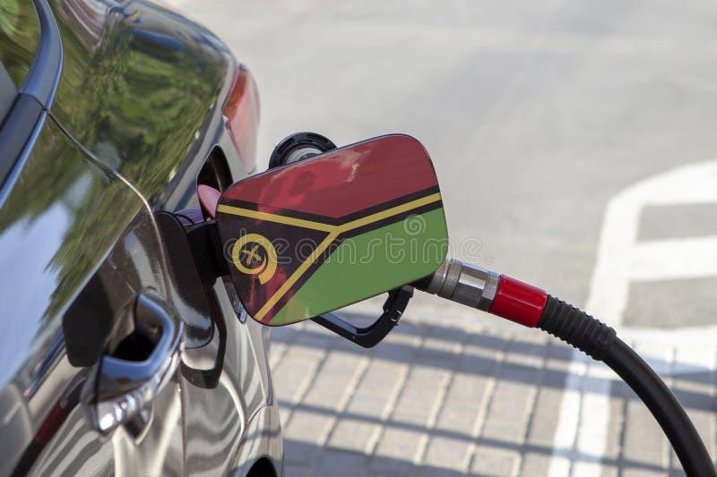 Vlag van Vanuatu op de de vullerklep van de auto` s brandstof stock afbeeldingen