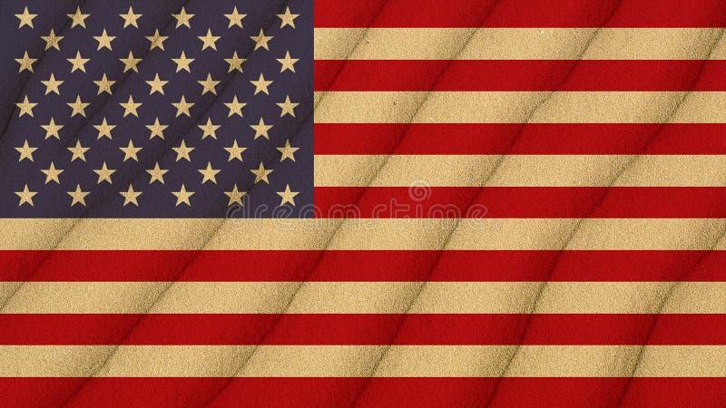 Vlag van Verenigde Staten op het zand stock afbeelding