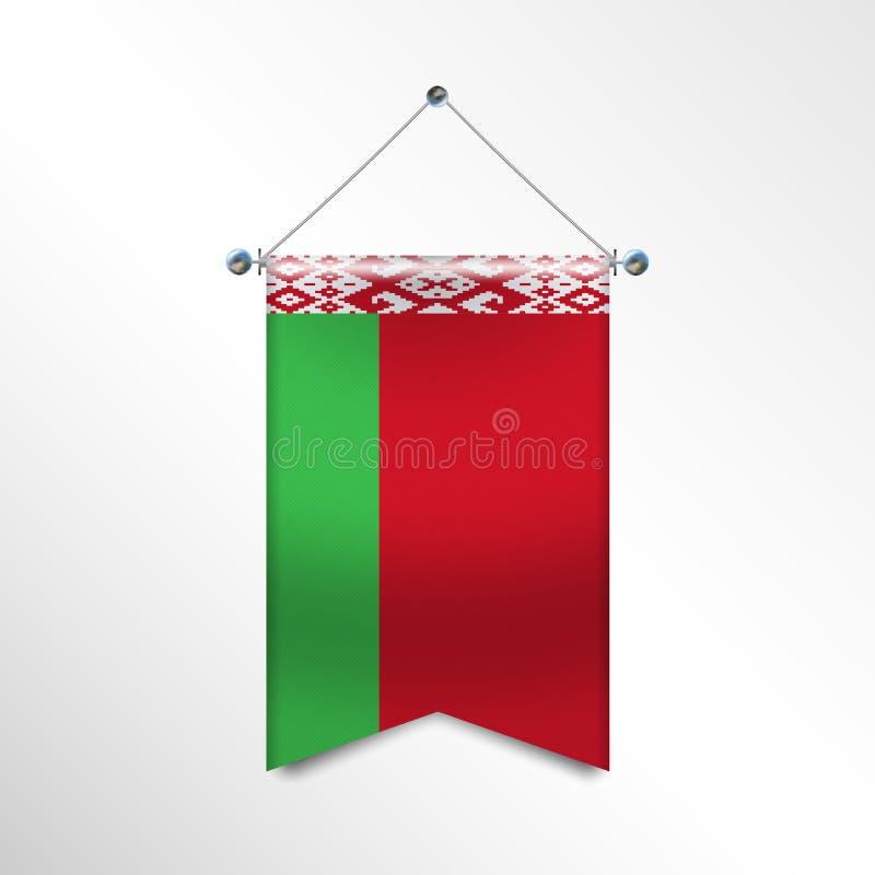Vlag van WIT-RUSLAND met textuur Nationale bannervlag die op Zilveren Metaalpolen hangen Verticaal 3D Wimpelmalplaatje stock illustratie