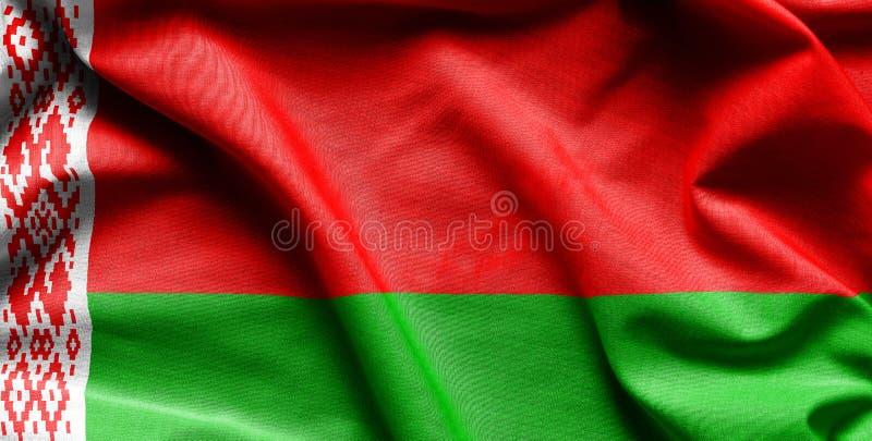 Vlag van Wit-Rusland op de golvende oppervlakte van stof royalty-vrije stock foto