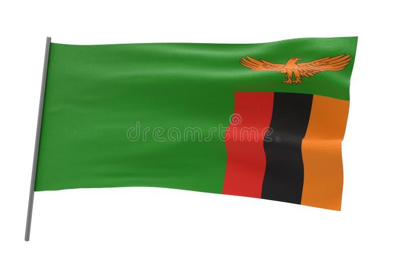 Vlag van Zambia stock illustratie