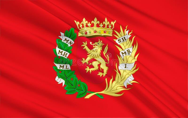 Vlag van Zaragoza - een stad in het noordoosten van Spanje vector illustratie
