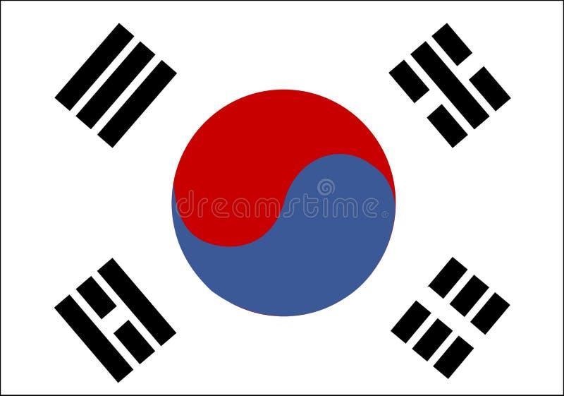 Vlag van Zuid-Korea stock illustratie