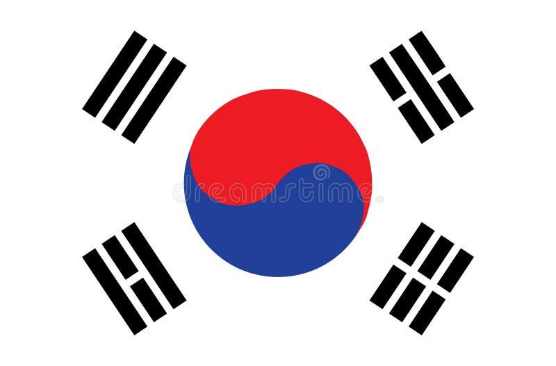 Vlag van Zuid-Korea Nauwkeurige afmetingen, vector illustratie