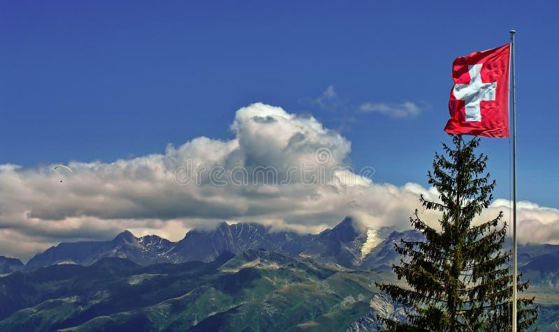 Vlag van Zwitserland en de Bergen van Alpen stock foto's