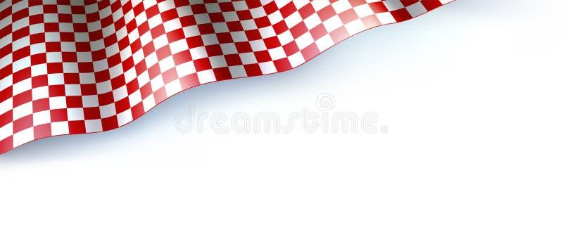 Vlag voor autoras of motorsport verzameling op wit Geruite vlag, rood en wit Driedimensionele vectorillustratie voor royalty-vrije illustratie