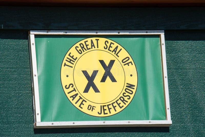 Vlag voor de Grote Verbinding van Staat van Jefferson, een voorgestelde 51ste staat stock afbeeldingen