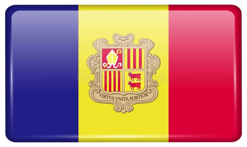 Vlaggen Andorra in de vorm van een magneet op ijskast met bezinningenlicht royalty-vrije illustratie