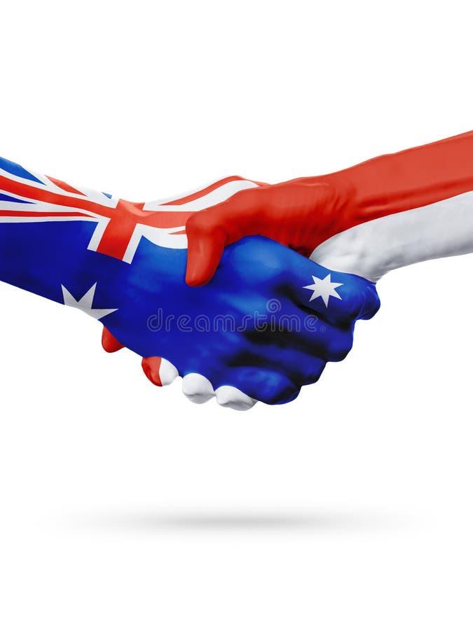 Vlaggen Australië, de landen van Monaco, vennootschapvriendschap, nationaal sportenteam royalty-vrije stock fotografie