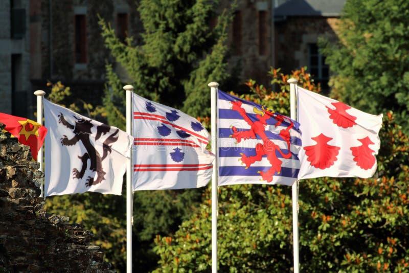 Vlaggen die in de wind blazen stock afbeelding