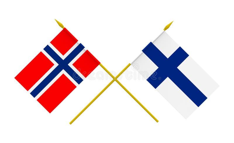 Vlaggen, Finland en Noorwegen royalty-vrije illustratie