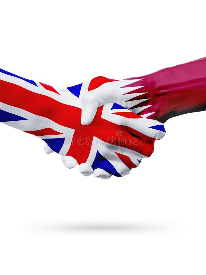 Vlaggen het Verenigd Koninkrijk, de landen van Qatar, de handdrukconcept van de vennootschapvriendschap stock afbeeldingen