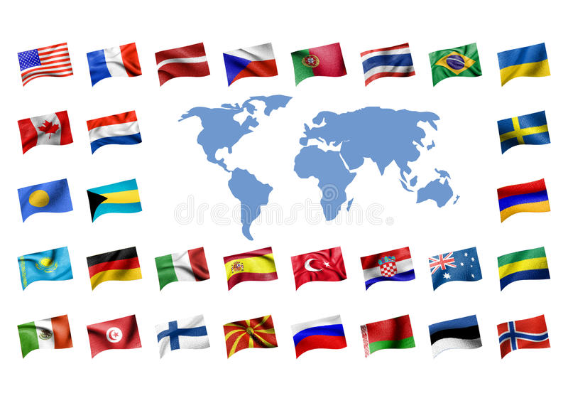 Vlaggen met een kaart van worl stock illustratie