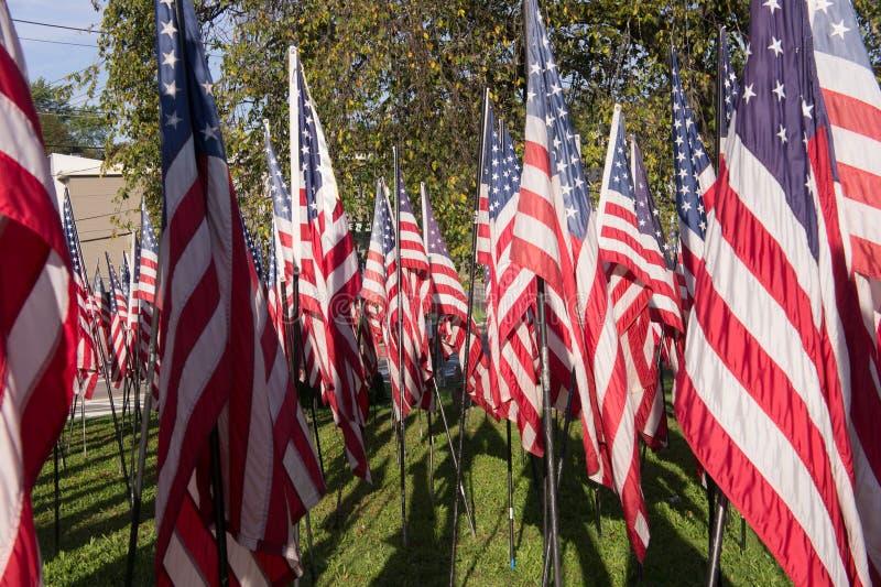 Vlaggen op Fortpunt in Quincy, doctorandus in de letteren stock foto's
