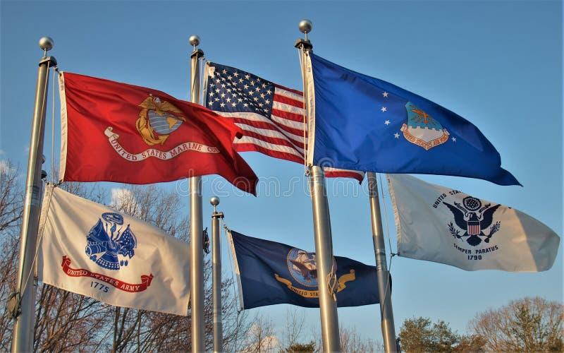 Vlaggen over Veteranengedenkteken in Koning, Noord-Carolina royalty-vrije stock afbeeldingen