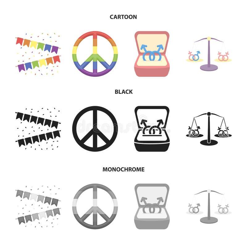 Vlaggen, regenboog, embleem, ringen Vrolijke vastgestelde inzamelingspictogrammen in beeldverhaal, de zwarte, zwart-wit voorraad  vector illustratie