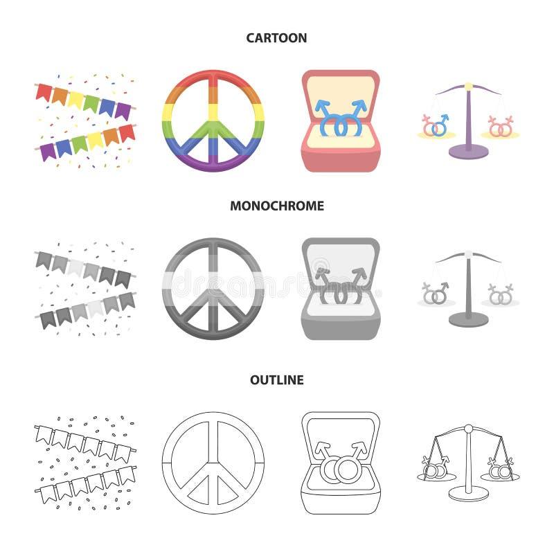 Vlaggen, regenboog, embleem, ringen Vrolijke vastgestelde inzamelingspictogrammen in beeldverhaal, overzicht, de zwart-wit voorra royalty-vrije illustratie