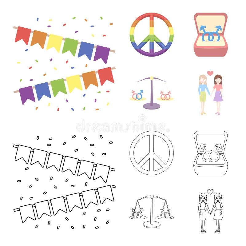 Vlaggen, regenboog, embleem, ringen Vrolijke vastgestelde inzamelingspictogrammen in beeldverhaal, van de het symboolvoorraad van stock illustratie