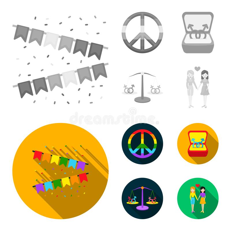 Vlaggen, regenboog, embleem, ringen Vrolijke vastgestelde inzamelingspictogrammen in het zwart-wit, vlakke Web van de de voorraad stock illustratie