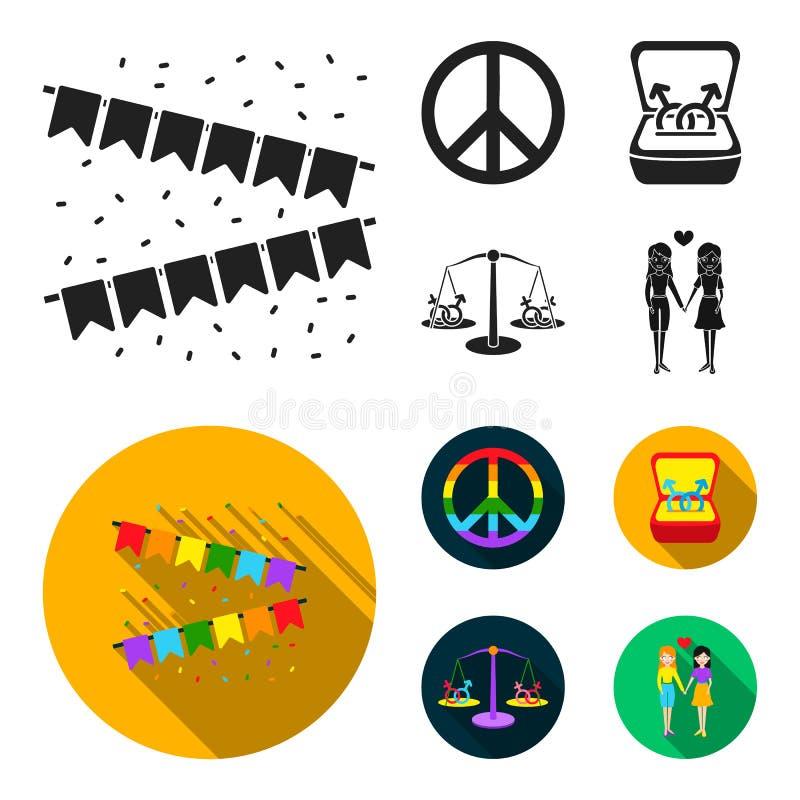 Vlaggen, regenboog, embleem, ringen Vrolijke vastgestelde inzamelingspictogrammen in het zwarte, vlakke Web van de de voorraadill stock illustratie