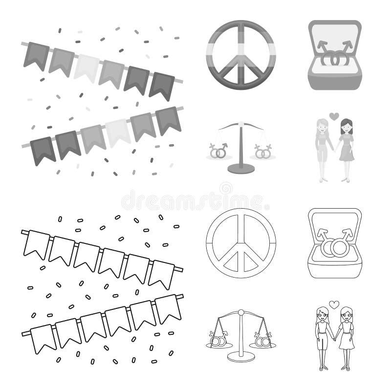 Vlaggen, regenboog, embleem, ringen Vrolijke vastgestelde inzamelingspictogrammen in overzicht, het zwart-wit Web van de de voorr royalty-vrije illustratie