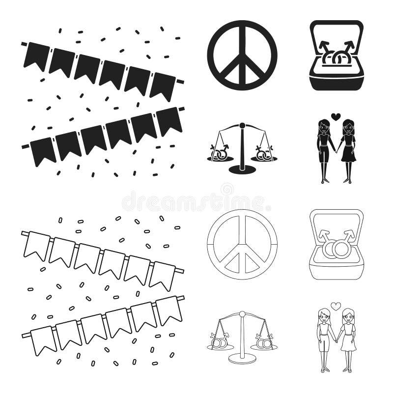 Vlaggen, regenboog, embleem, ringen Vrolijke vastgestelde inzamelingspictogrammen in zwarte, van de het symboolvoorraad van de ov stock illustratie