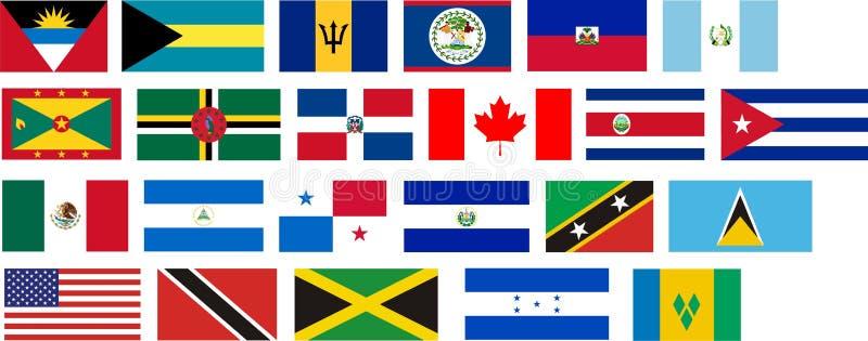 Vlaggen van alle landen van Noord-Amerika vector illustratie