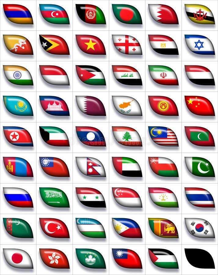Vlaggen van Azië 2 vector illustratie