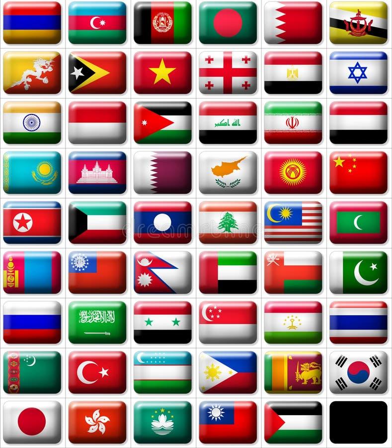 Vlaggen van Azië royalty-vrije illustratie