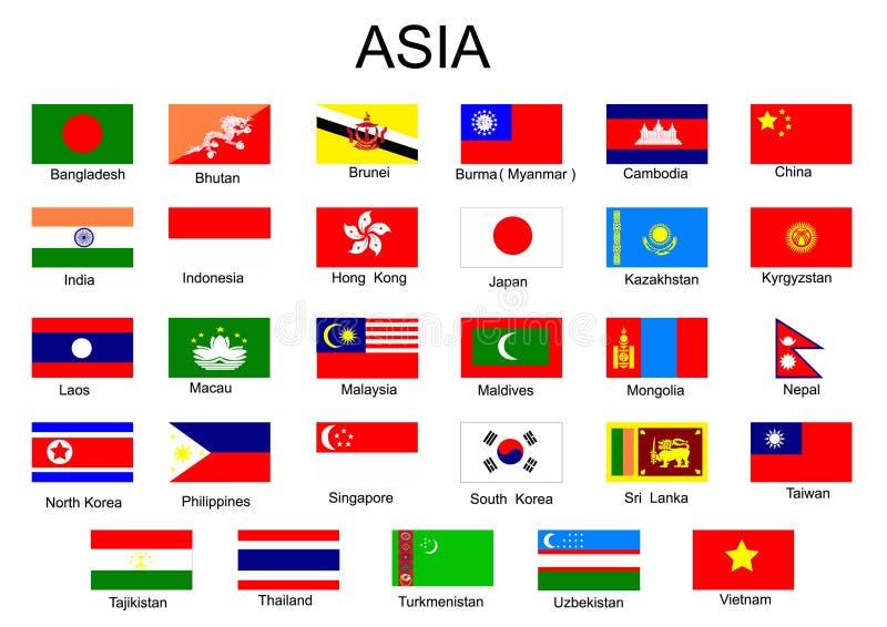 Vlaggen van Aziatische landen vector illustratie