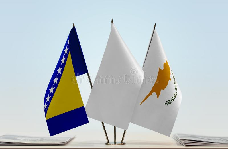 Vlaggen van Bosnië-Herzegovina en Cyprus royalty-vrije stock fotografie