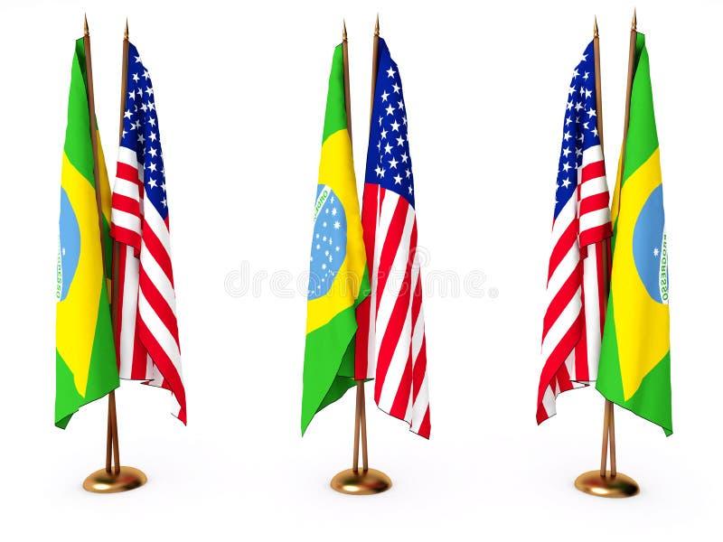 Vlaggen van Brazilië en de Verenigde Staat royalty-vrije illustratie