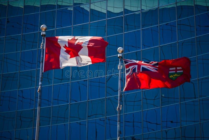 Vlaggen van Canada en Ontario royalty-vrije stock foto's
