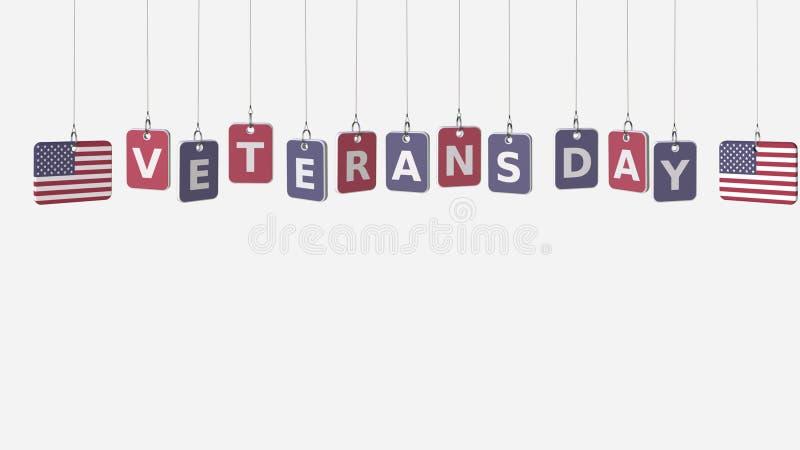Vlaggen van de Dagtekst van de V.S. en van Veteranen bij het hangen van platen het 3d teruggeven stock illustratie