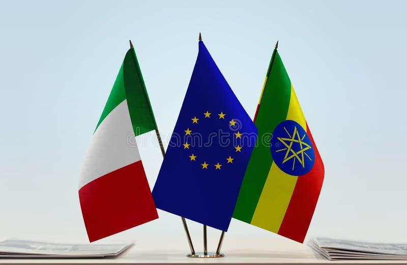 Vlaggen van de EU van Italië en Ethiopië stock fotografie