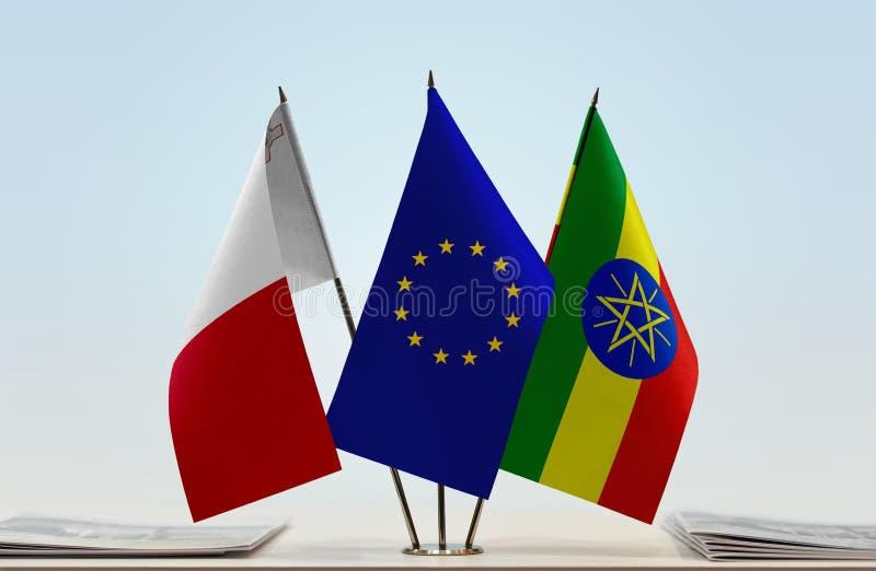 Vlaggen van de EU van Malta en Ethiopië royalty-vrije stock afbeelding