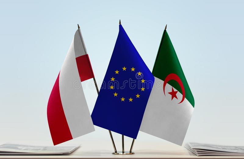Vlaggen van de EU van Polen en Algerije royalty-vrije illustratie