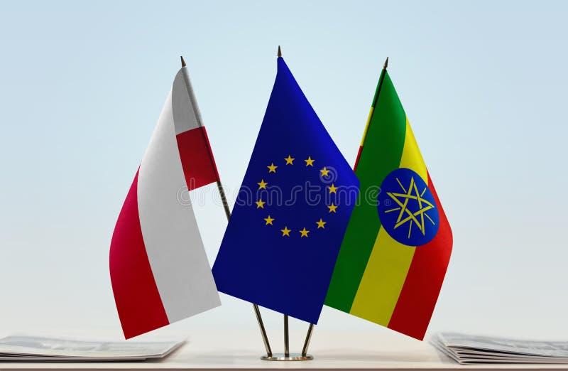 Vlaggen van de EU van Polen en Ethiopië stock illustratie