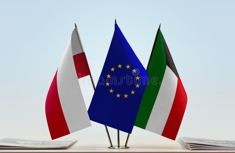 Vlaggen van de EU van Polen en Koeweit vector illustratie