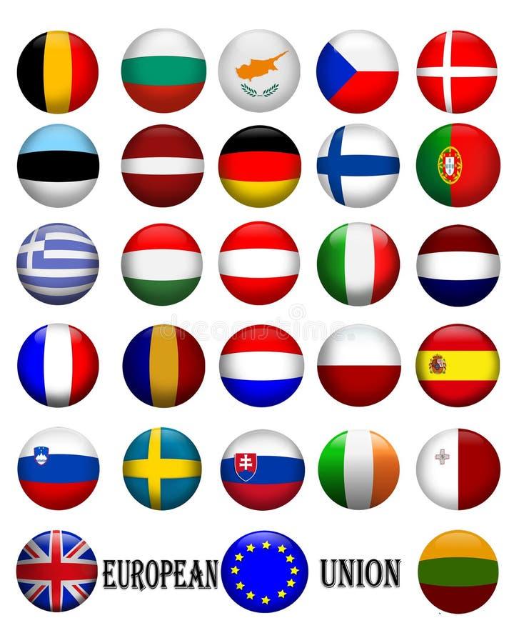 Vlaggen van de Europese 3D Unie vector illustratie