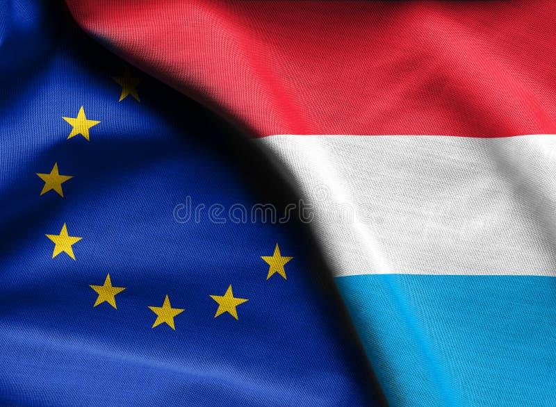 Vlaggen van de Europese Unie van Luxemburg en stock fotografie