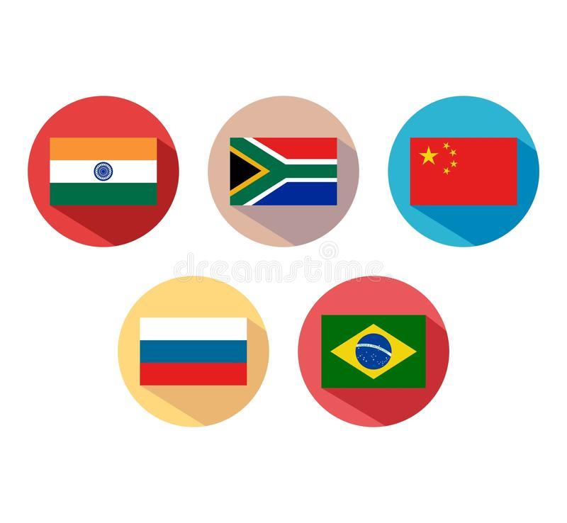 Vlaggen van de Internationale organisatie van BRICS stock illustratie