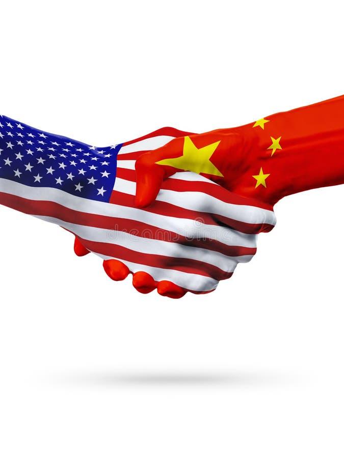 Vlaggen van de landen van China en van Verenigde Staten, overdrukte handdruk stock illustratie