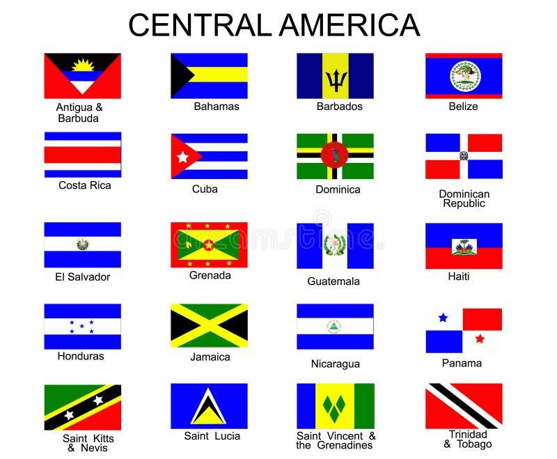 Vlaggen van de landen van Midden-Amerika royalty-vrije illustratie