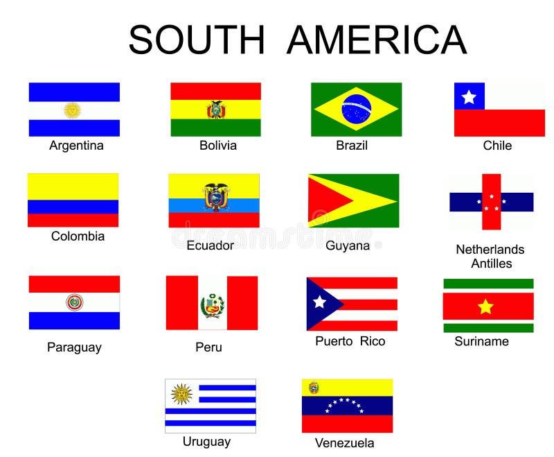 Vlaggen van de landen van Zuid-Amerika royalty-vrije illustratie